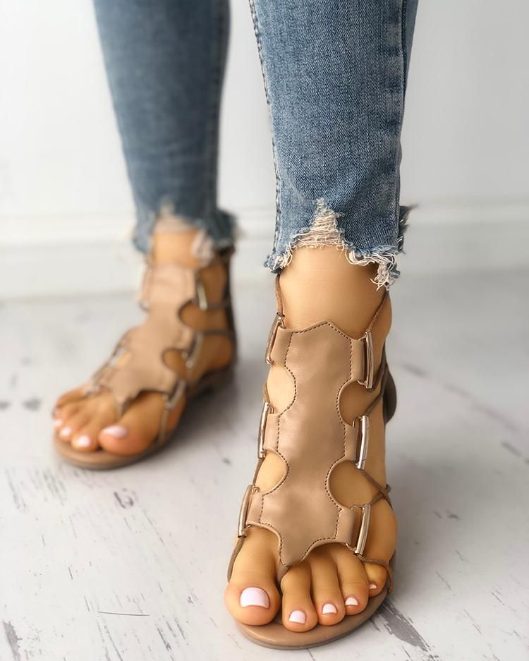 Hollow Out Toe Post Flat Gladiator Sandals Hollow Out Toe Post Flat Gladiator Sandals Free Shipping  30 days Easy Return