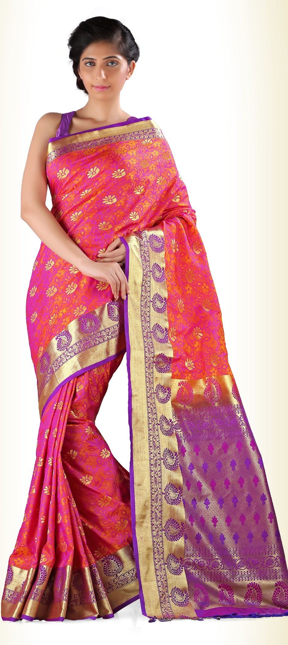 713099: Orange, Purple and Violet color family Silk Sarees with ...