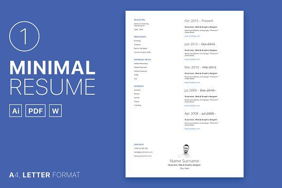 Minimal Resume 01 Template, Resume cv and Business cards