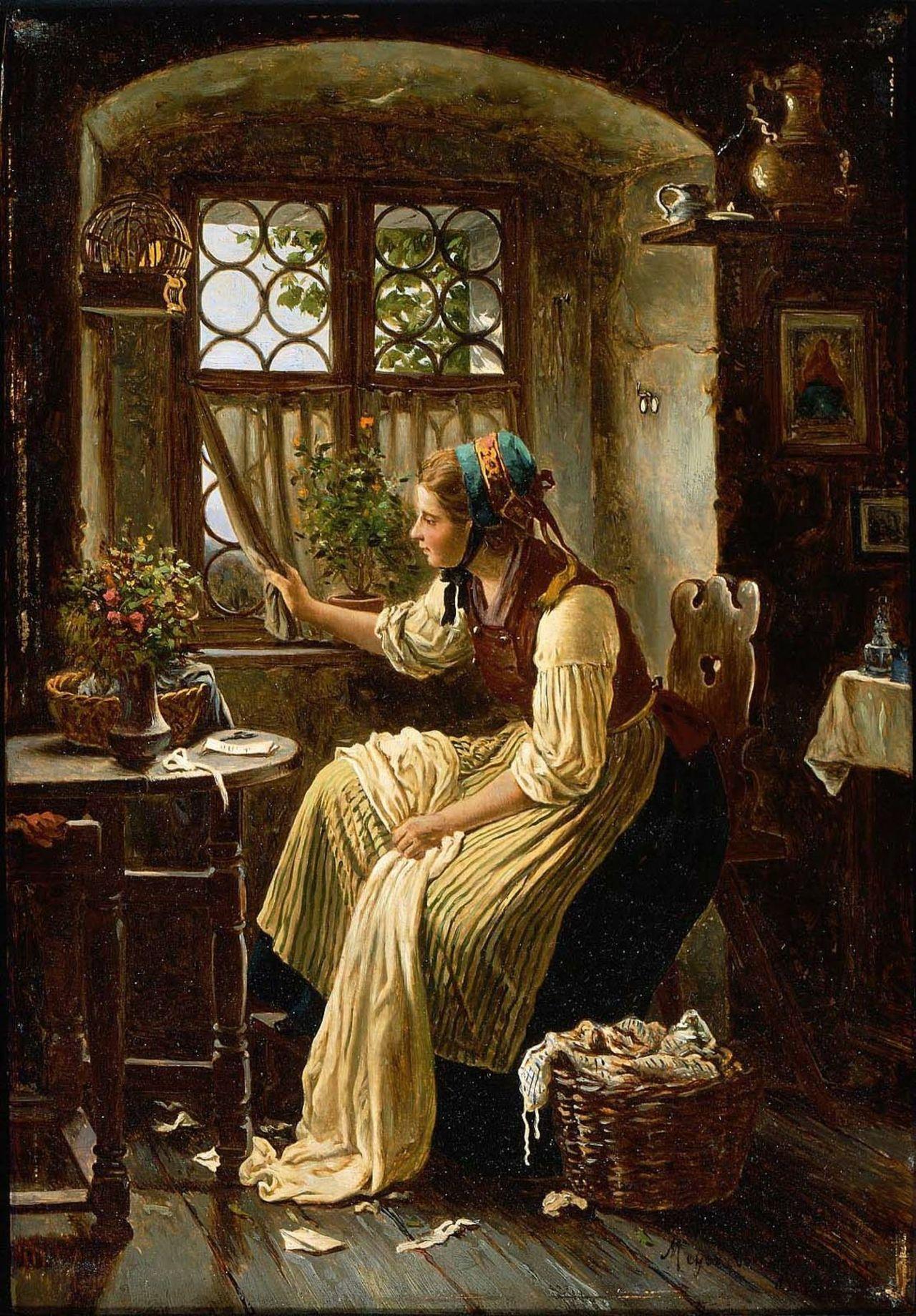 Young Woman Looking through a Window - Johann Georg Meyer von Bremen  19th century