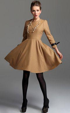 TS Bow Tie Wool Blend Dress
