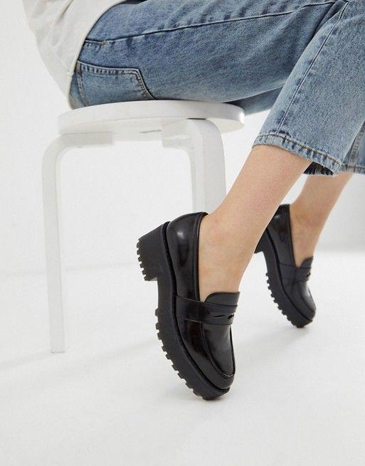 monki flatform loafer in black | ASOS monki flatfo