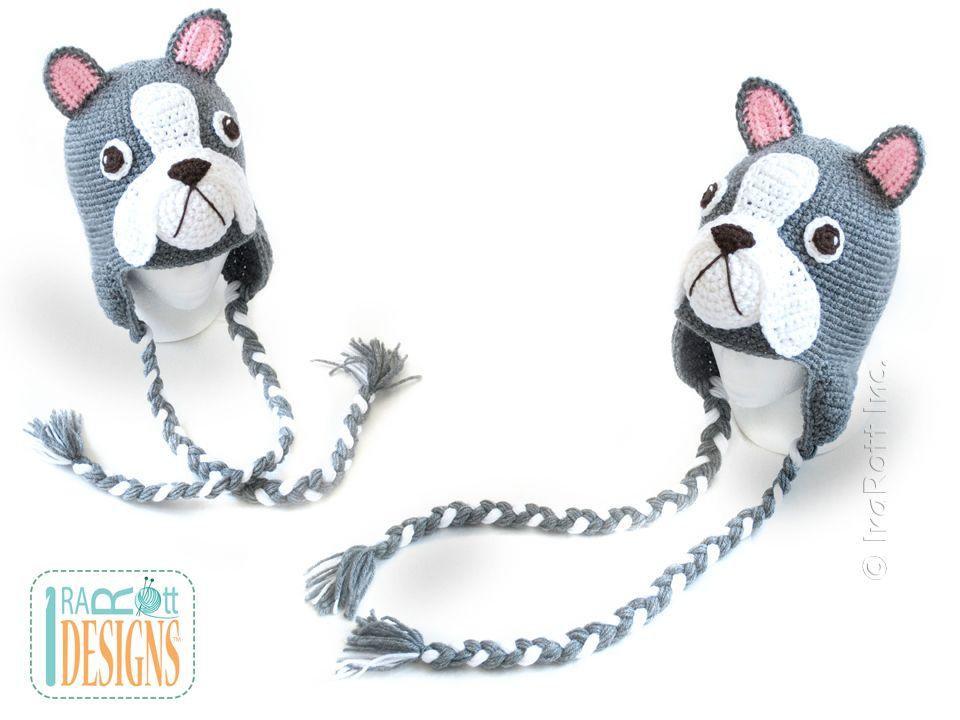 Oscar The French Bulldog or Boston Terrier Hat PDF Crochet Pattern