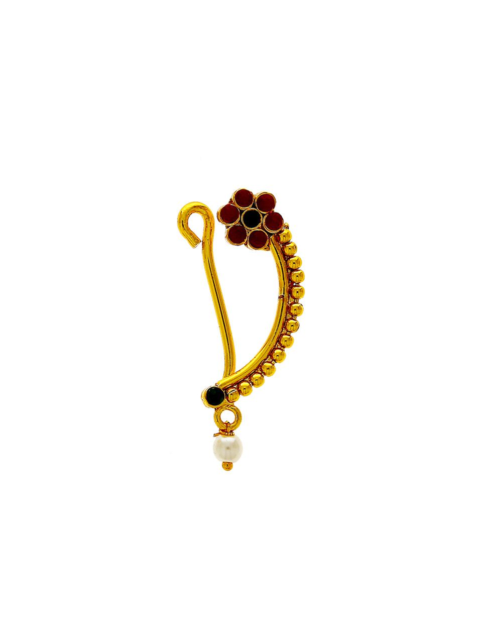 4d812154b8 Buy Gold Finish Red-green Colour Fancy Nath Design Online | Anuradha Art  Jewellery