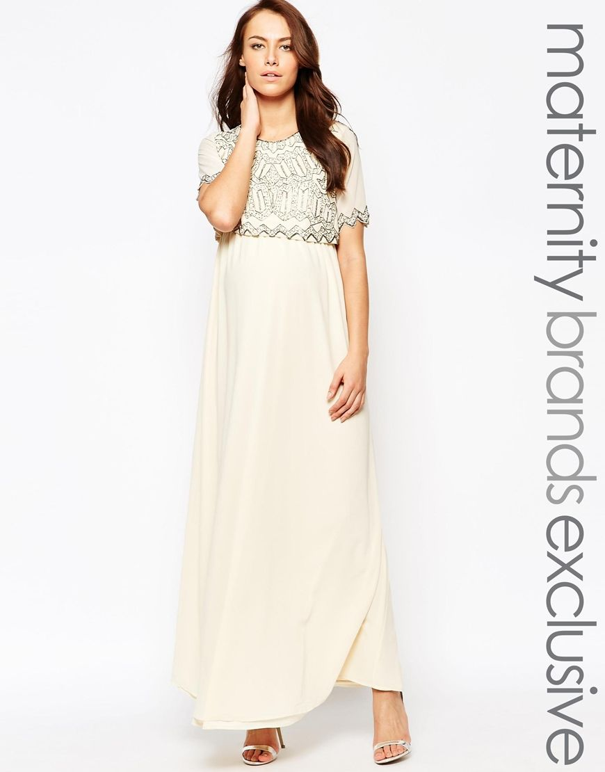 Image 1 of maya maternity embellished crop overlay maxi dress maternity dress by maya maternity woven fabric round neckline embellished crop layer regular fit true to size designed to fit through all stages of ombrellifo Image collections