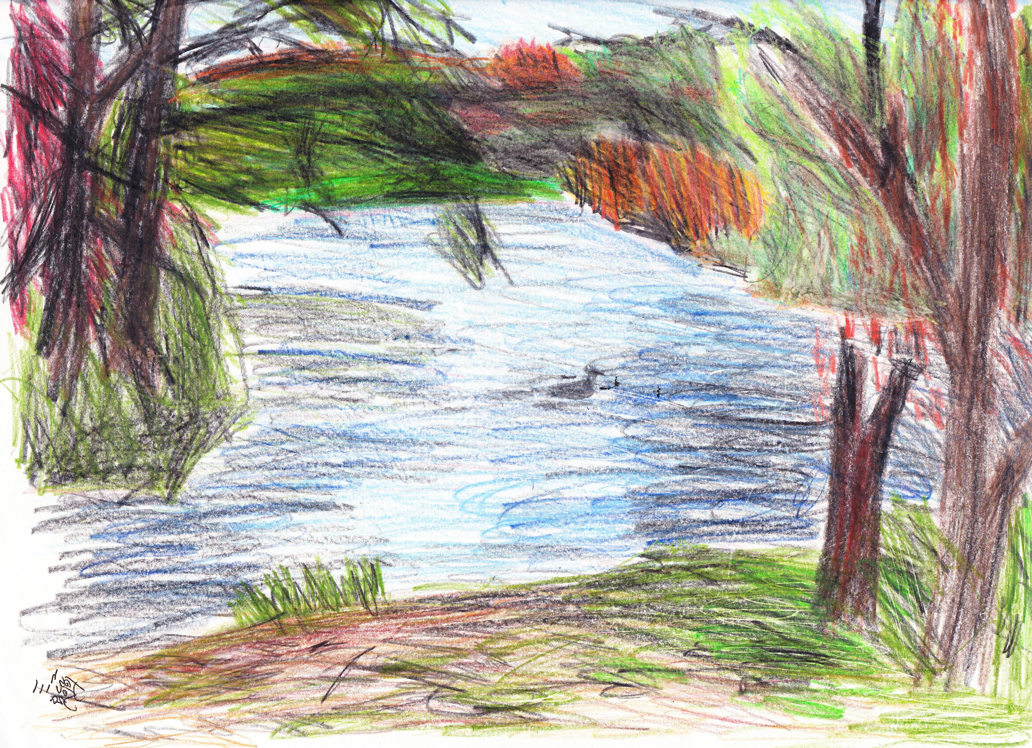 Drawing Of Nature With Colour Pencil Colour Sketch Pencil Nature Nature Drawing Pictures Easy Nature Drawings Drawing Scenery