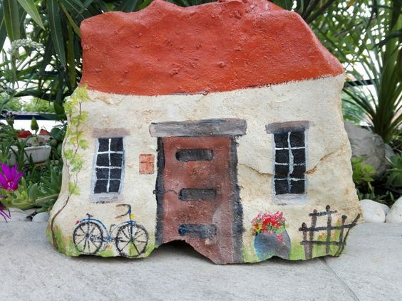 Photo of Make a painted fairy rock house with acrylic craft paint and sealer