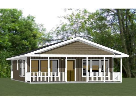 28x34 House 2 Bedroom 2 Bath 952 Sq Ft Pdf Floor Plan Etsy In 2021 Best Modular Homes Small Farmhouse Plans House With Porch