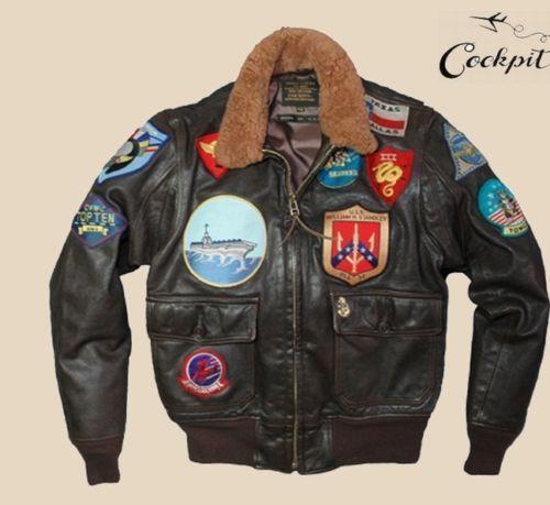 be486e0a TOP GUN BLACK' Men's A2 Jet Fighter Bomber Navy Air Force Pilot ...