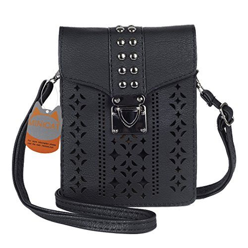 1d7af232b1781 awesome MINICAT Women Hollow Texture Series Crossbody Bag Cell Phone Purse  Wallet(Black)