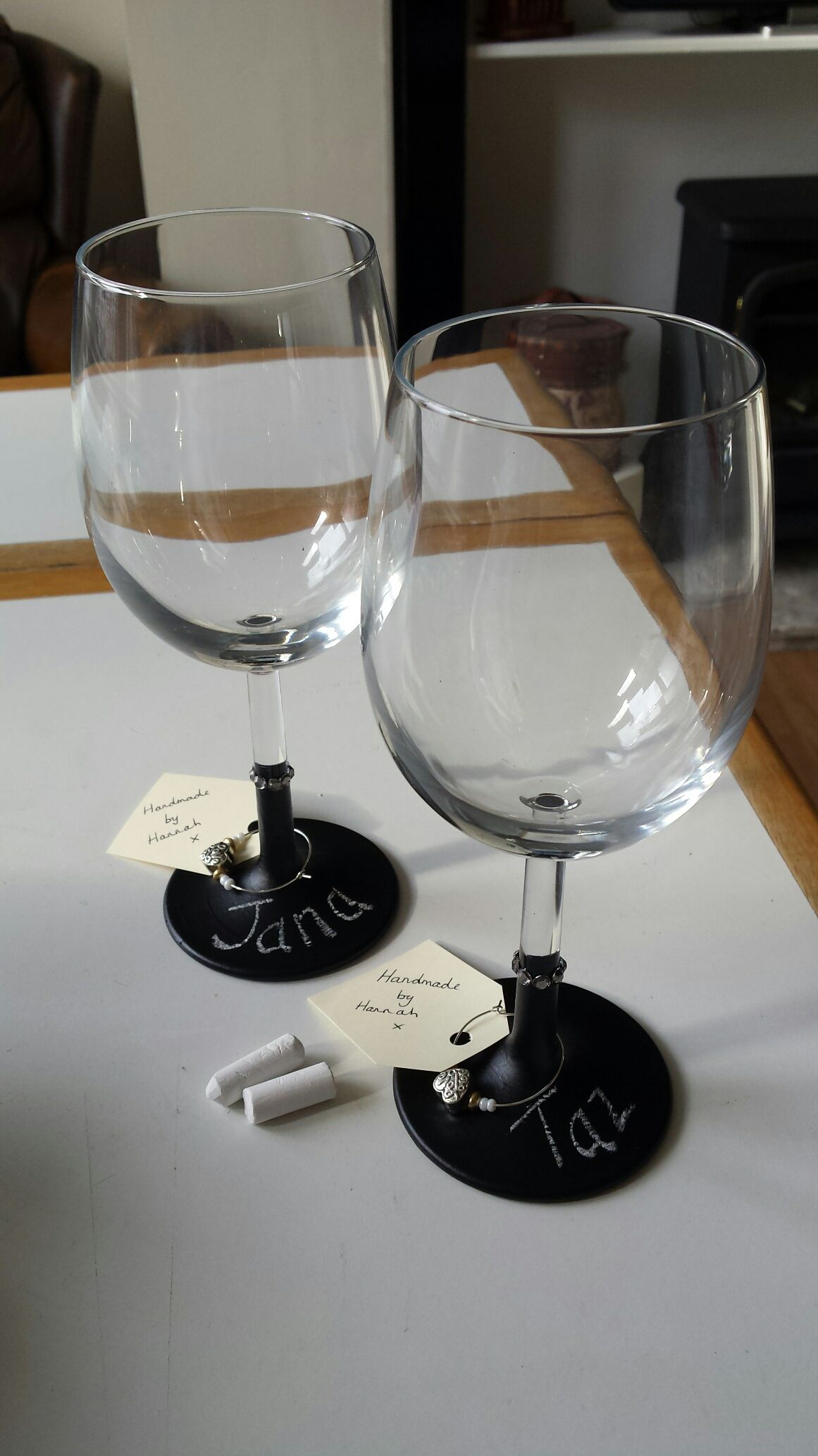 Chalkboard painted wine glasses