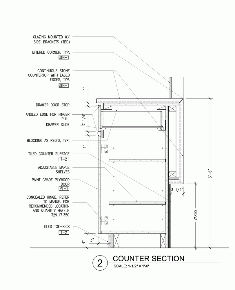 Compartes Melrose Aamp Studio Counter Section Furniture Details Drawing Joinery Details Drawing Furniture