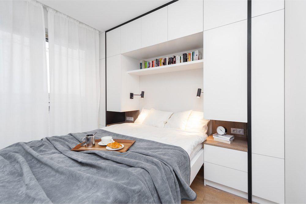 Moderne Strakke Slaapkamer : Deze kleine moderne slaapkamer is voorzien van een strakke