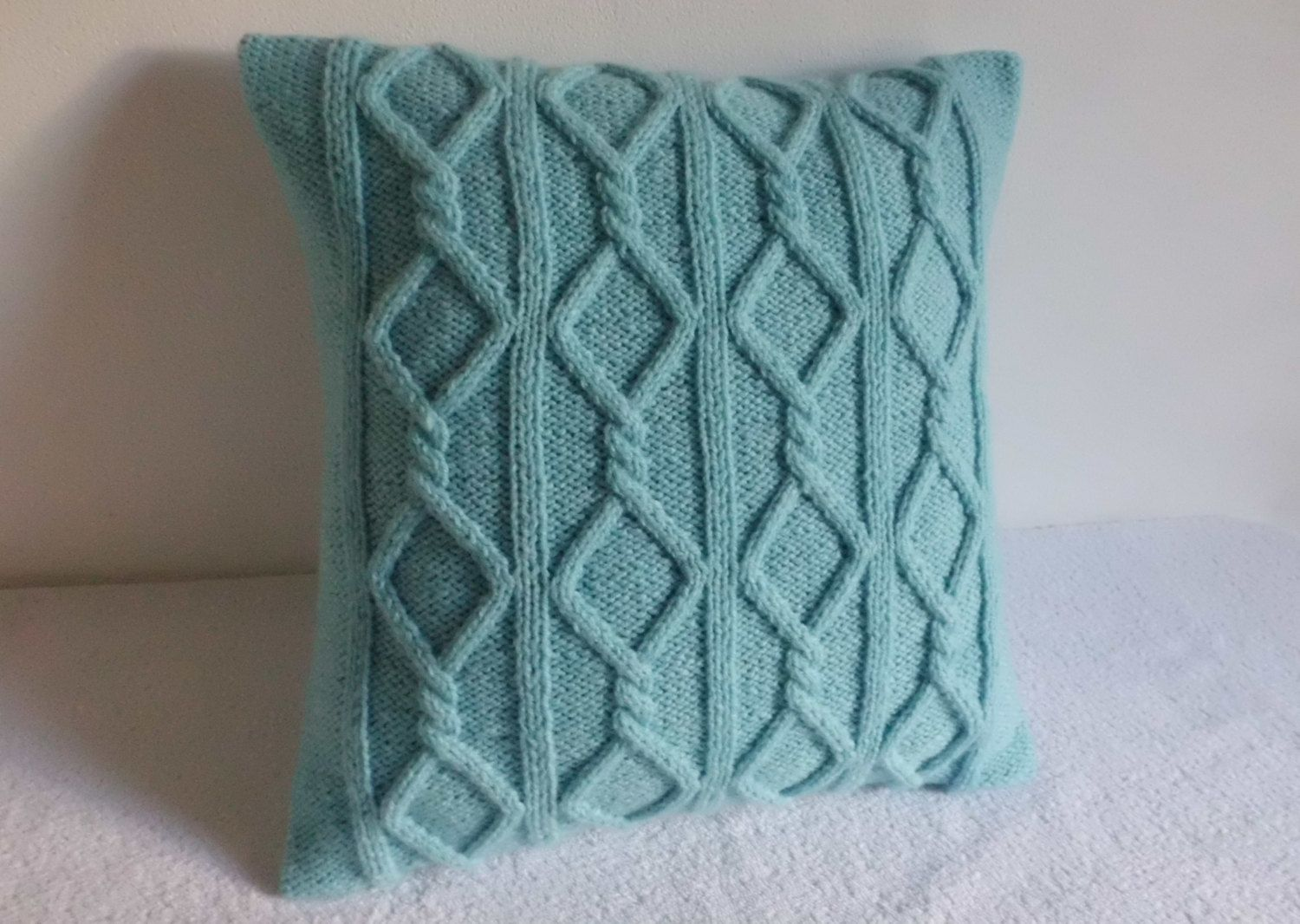 Knit Throw Pillow Cover Pattern : Cable Knit Pillow Cover Aqua, Turquoise Knit Throw Pillow, Decorative Pillow, Hand Knit Pillow ...