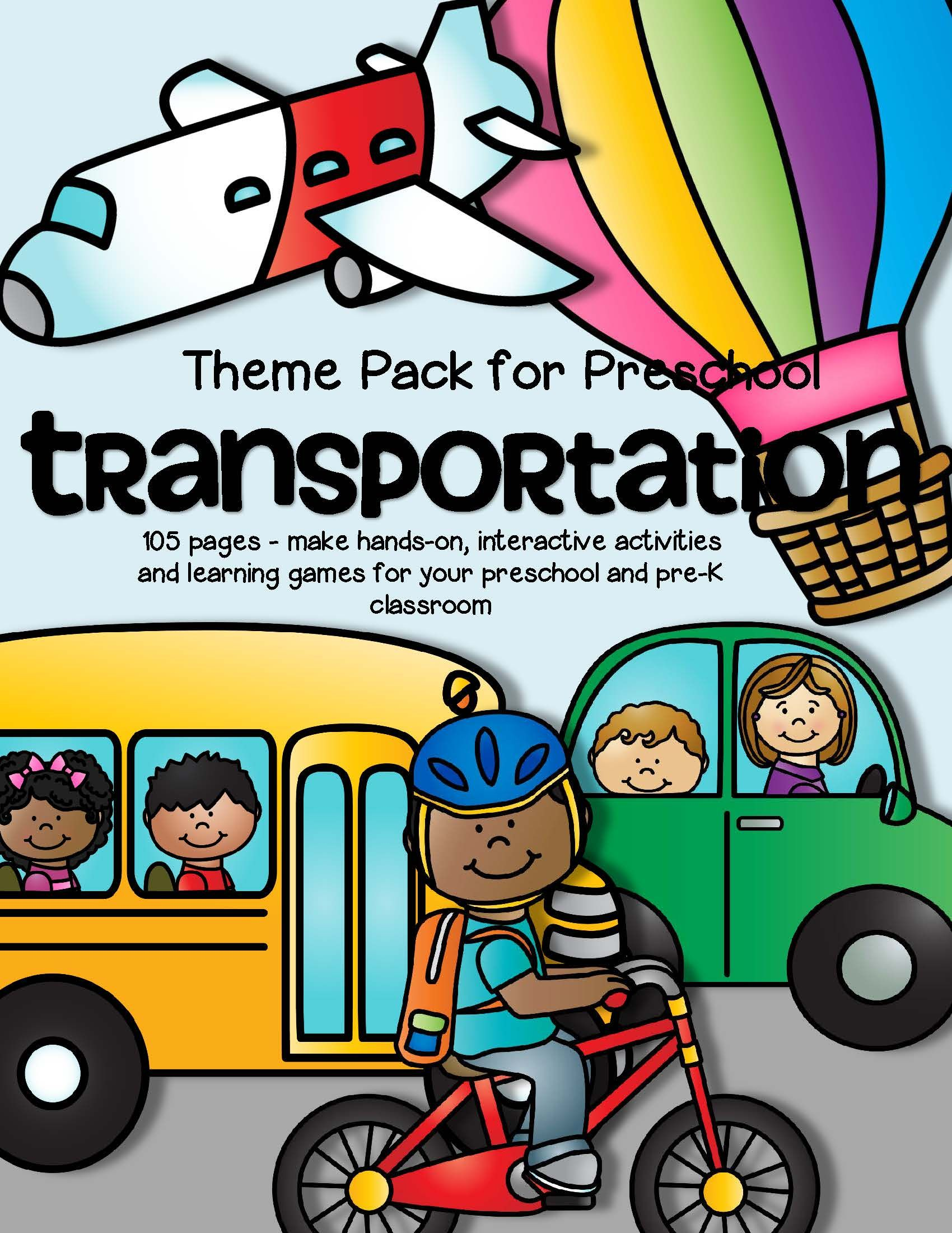TRANSPORTATION Math and Literacy Centers for Preschool and