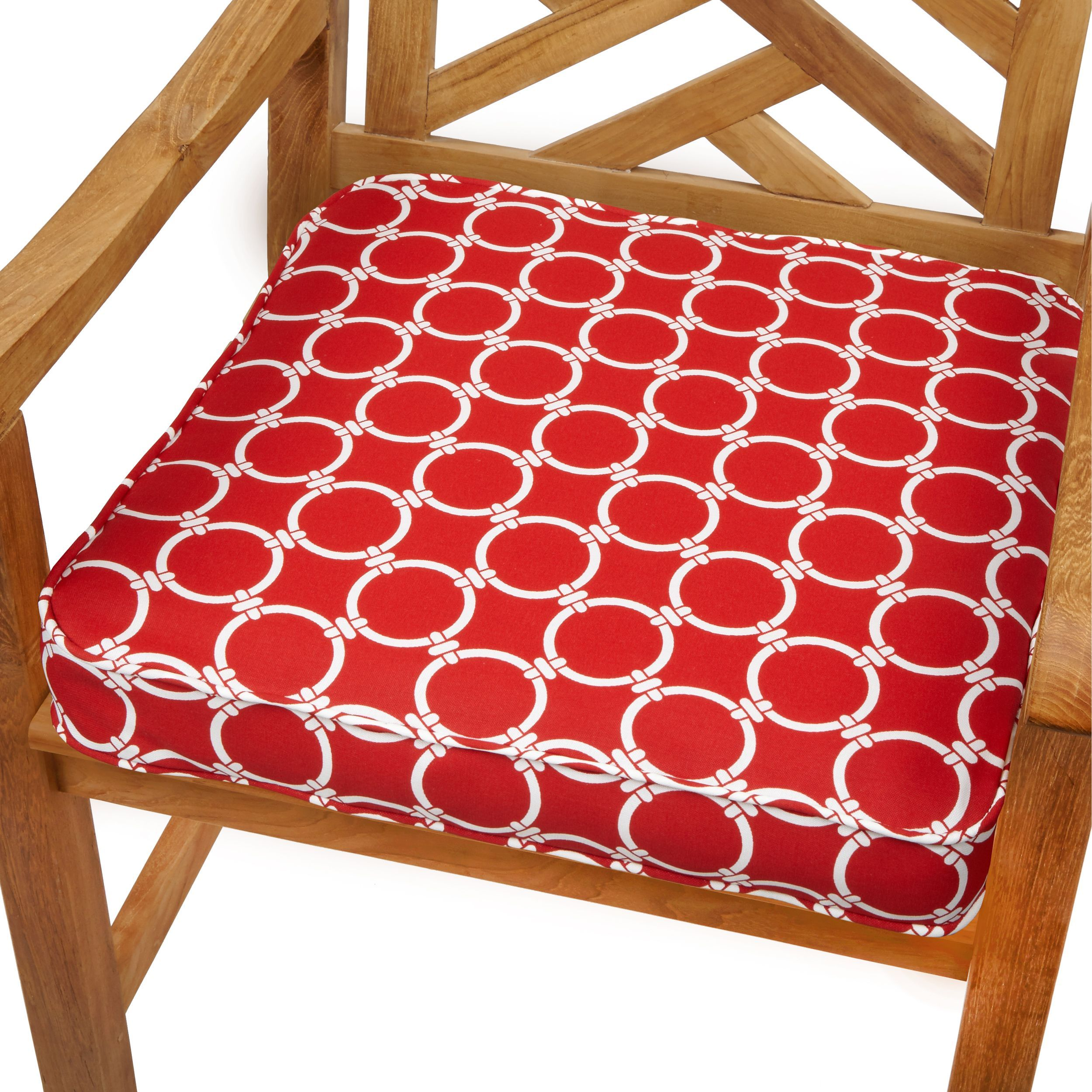 Linked Red 20 Inch Indoor Outdoor Corded Chair Cushion Fabric Geometric Outdoor Cushion Chair Cushions Outdoor Dining Chair Cushions Outdoor Cushions
