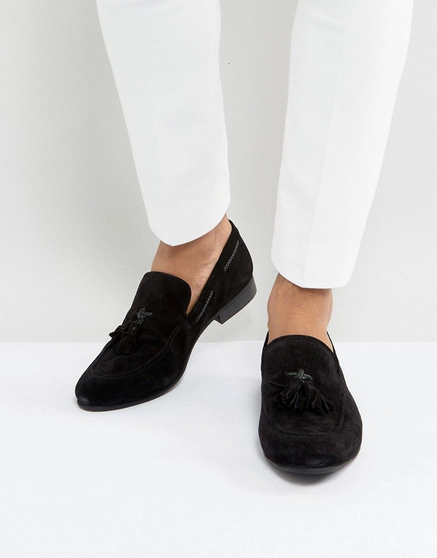 1e5ef035f31 DUNE TASSEL LOAFERS BLACK SUEDE - BLACK.  dune  shoes