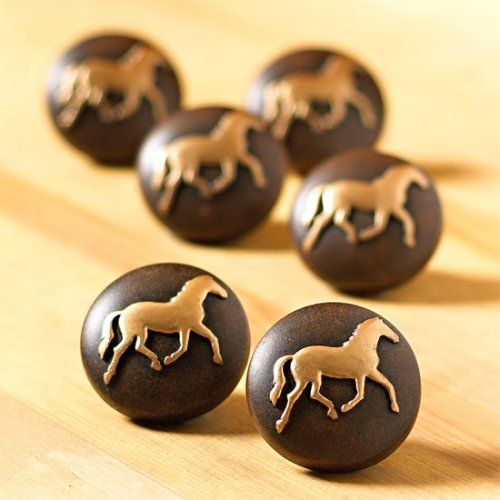 6 HORSE Pony WESTERN Knobs DRAWER PULLS Cabinet NEW