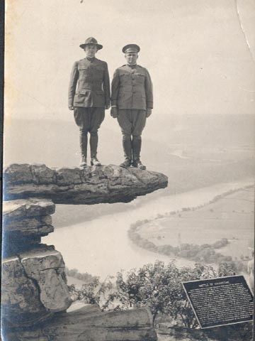 Henry Ladd Stickney (1871-1948), is the soldier on the far right. He was stationed at Camp Greenleaf in Chattanooga, Tennessee, in 1917, during World War I. While there he visited Lookout Mountain and Umbrella Rock, shown in this photo.
