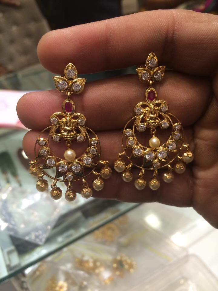 uncut chandbali earrings latest | Simple gold/diamond earrings ...
