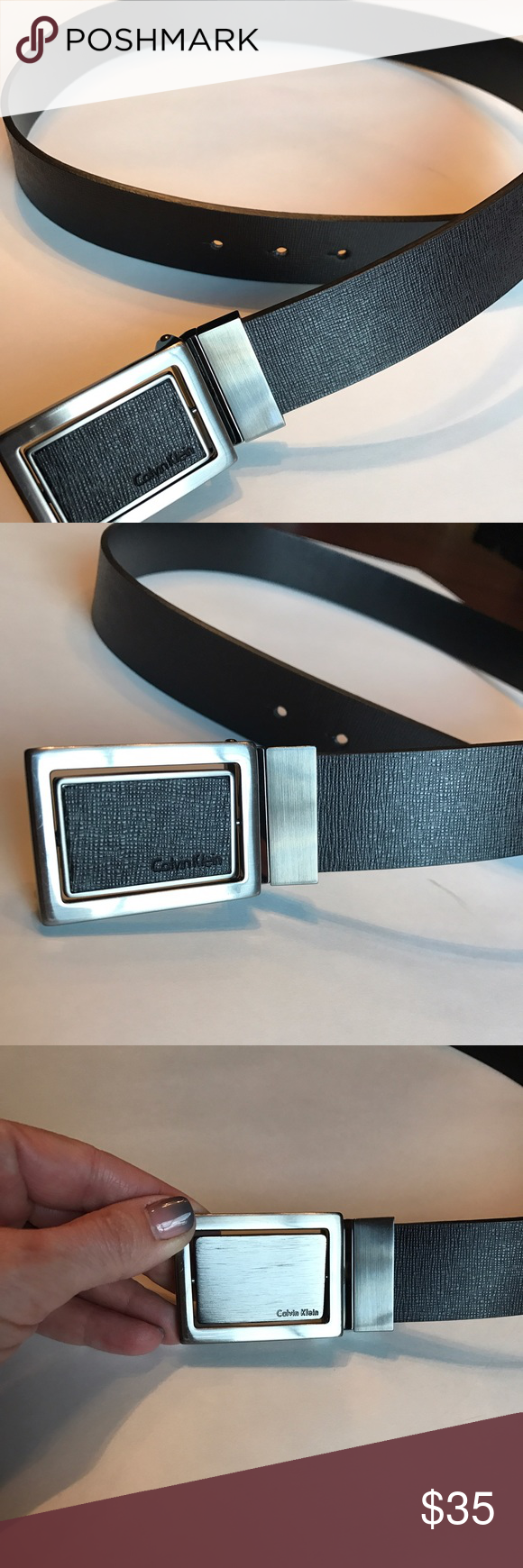 """Calvin Klein men's reversible buckle belt This men's belt from Calvin Klein is 44"""" in length. Color is a very dark brown with a gorgeous texture. The buckle is reversible - one side is textured like the belt, and the order side is a brushed metal. Like new! Calvin Klein Accessories Belts"""