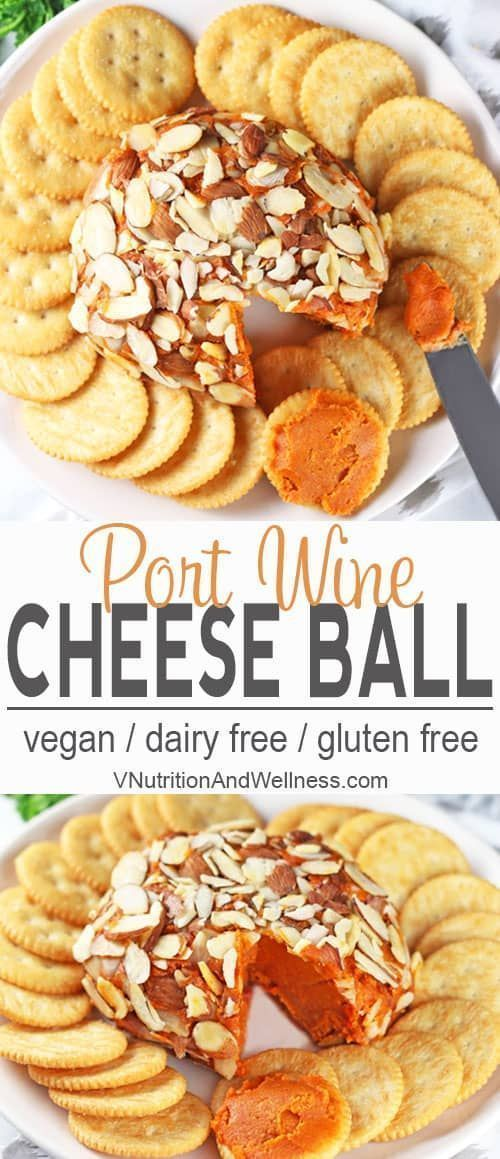 Vegan Port Wine Cheese Ball | This Vegan Port Wine Cheese Ball will be a hit at any party. Creamy cashews, sun-dried tomatoes, and port wine make for a delicious combination that no one will realize it s dairy-free! Impress your guests with this easy-to-make ball of tastiness! gluten-free, dairy-free, vegan recipe, vegetarian via VNutritionist