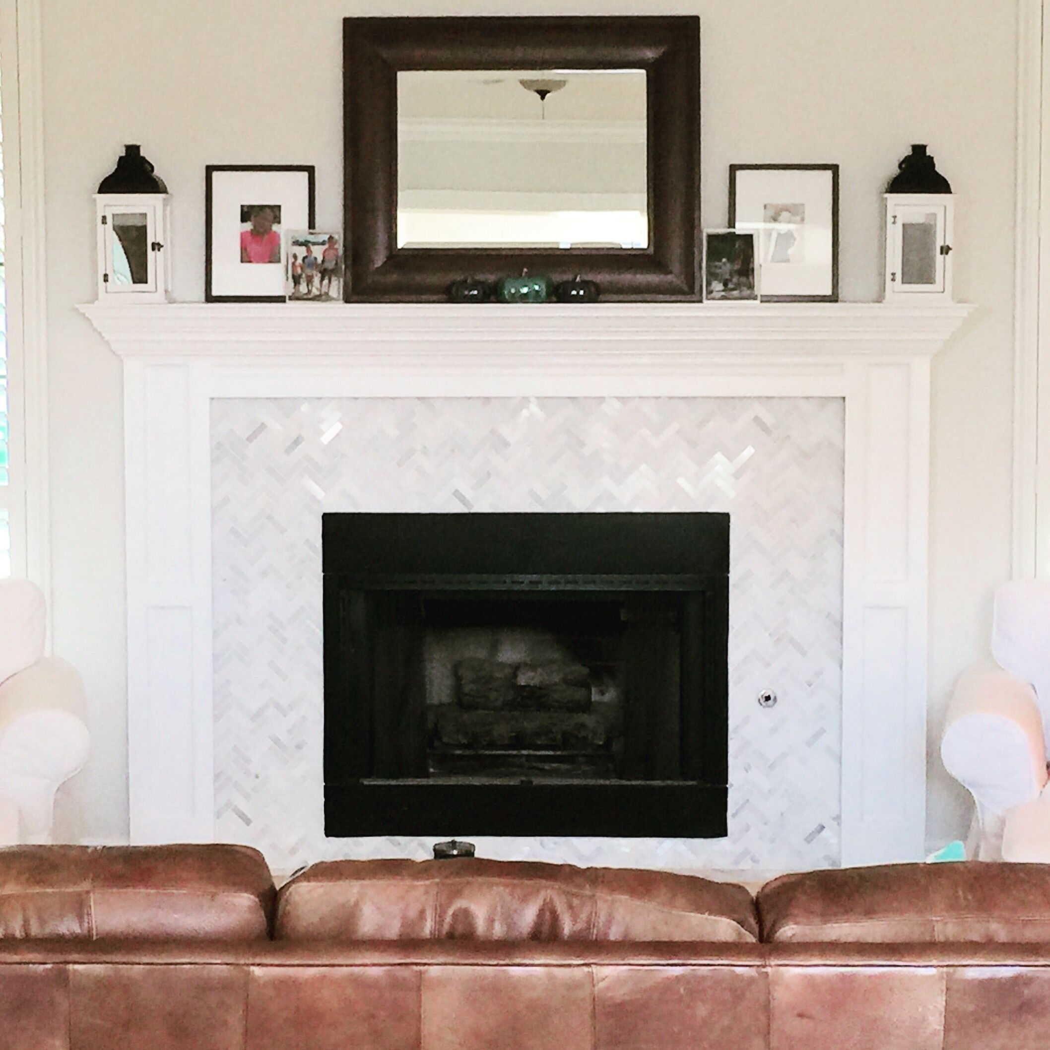 Harringbone Marble Fireplace Remodel #Fireplacemirror