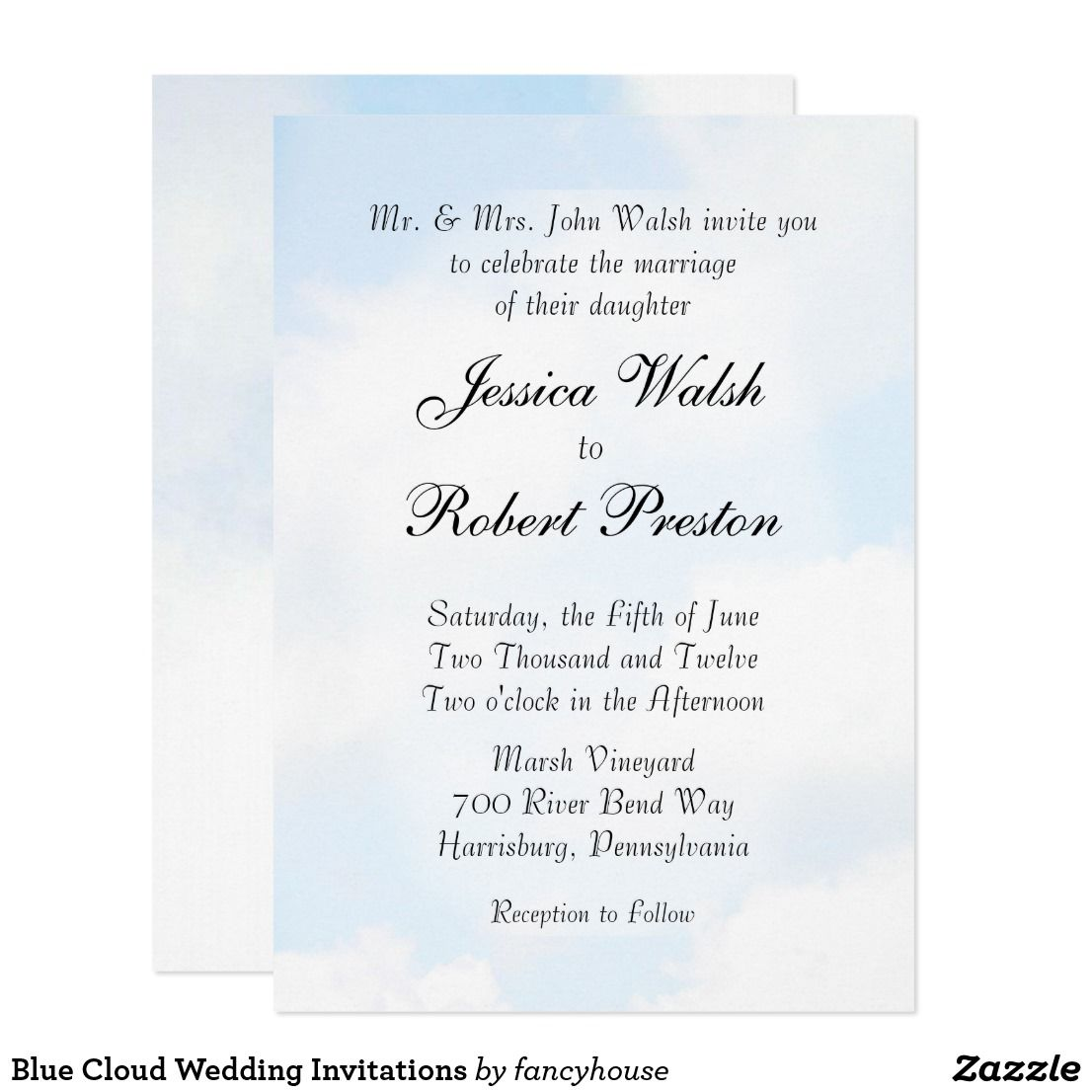 Blue Cloud Wedding Invitations 50 Off Country Themed Wedding