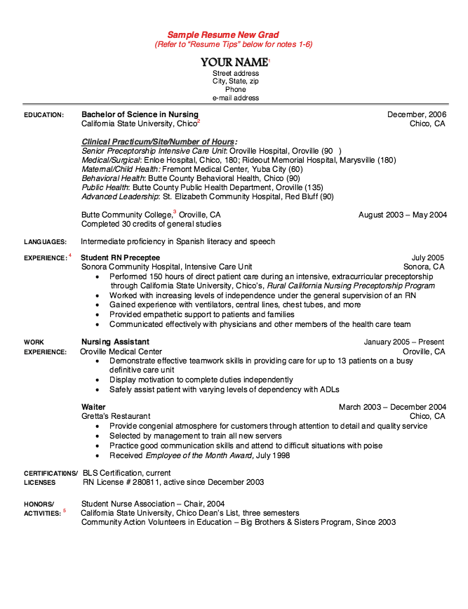 Sample Resume New Grad Nurse