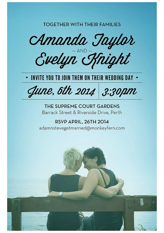 The Loving Couple By AdamNSteveGetMarried Lesbian Wedding Invitation  #samelove #wedding