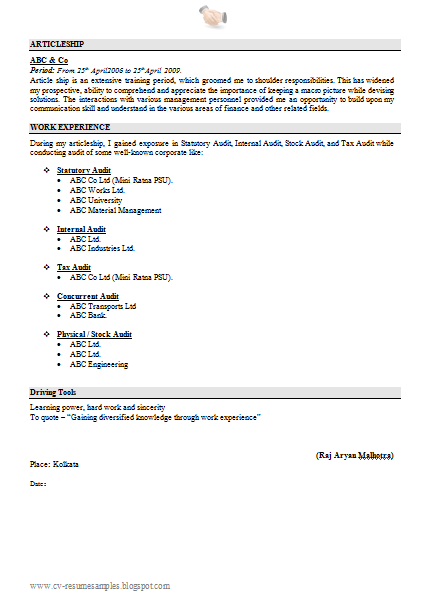 Free Download Resume Sample For Ca Fresher With Cover Letter