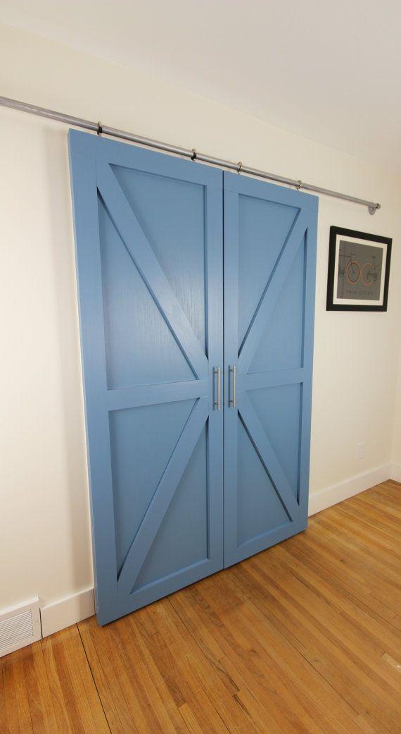Modern Painted Double Barn Door Wood By Graincustomwoodworks Wood Barn Door Double Barn Doors Barn Door