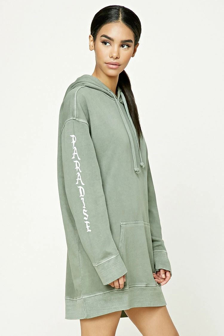 fcbc31b6f37 A longline French terry knit hoodie featuring an oversized fit