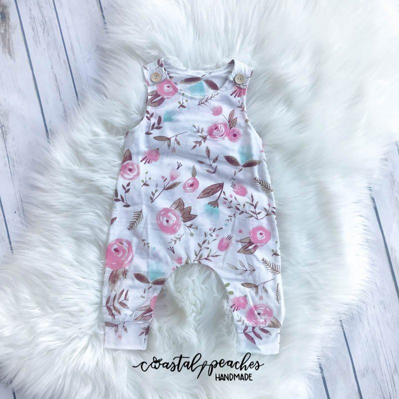bad0393f1 Watercolor Floral Romper / Girls Boutique Clothing / Baby Girl Rag / Baby  Shower Gift / Summer Spring Clothes / Modern Kid Clothes by CoastalPeaches  on Etsy