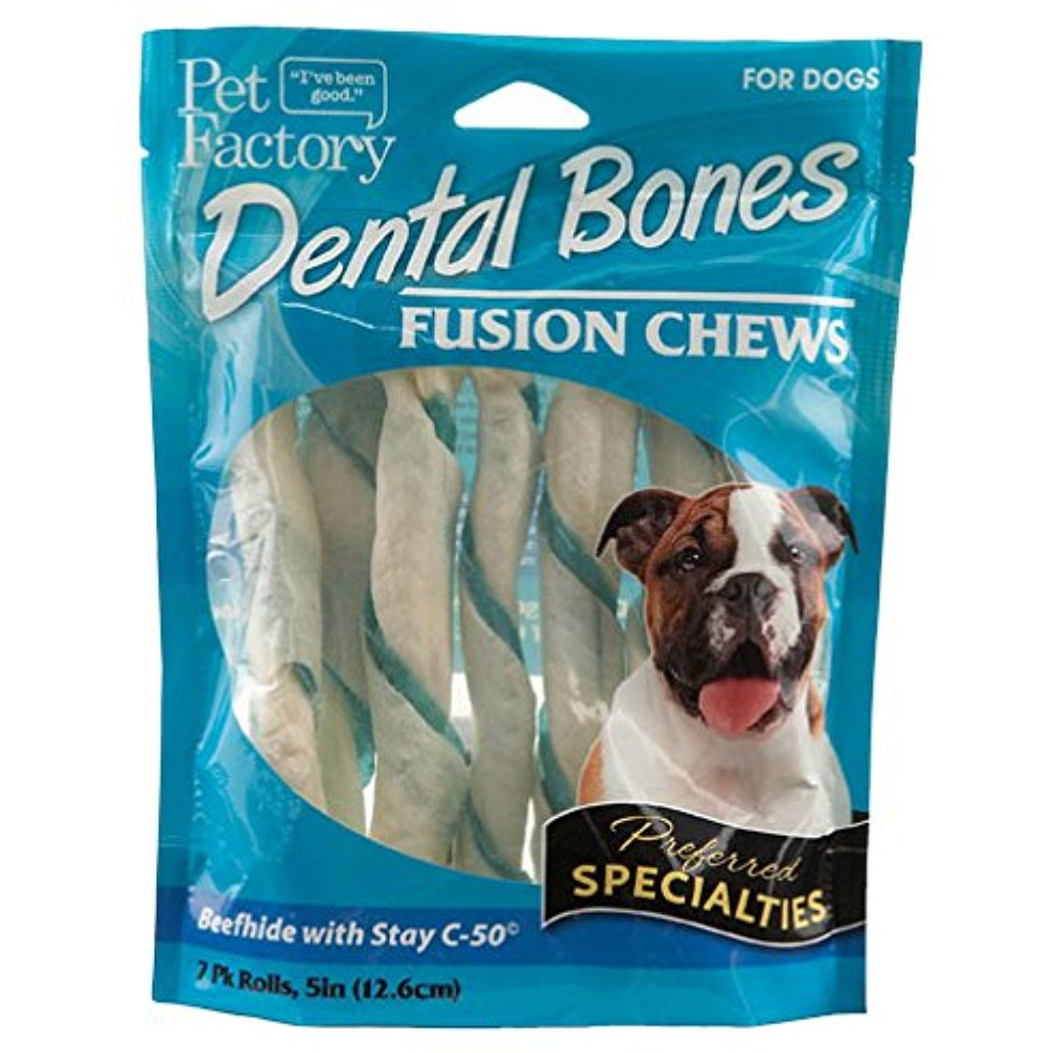 Pet Factory 81007 Dental Fusion Chew 50 Twist Rolls For Dog Pack