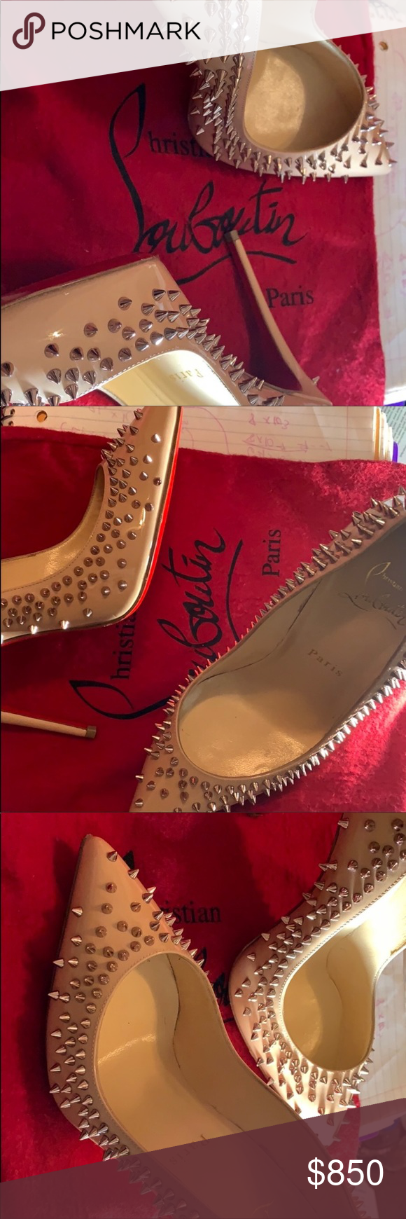 1d95e1e530c Spiked red bottoms Rose gold Christian Louboutin Shoes Heels
