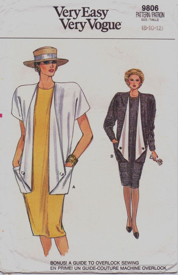 80s Very Easy Very Vogue Pattern 9806 Womens Dress by CloesCloset ...