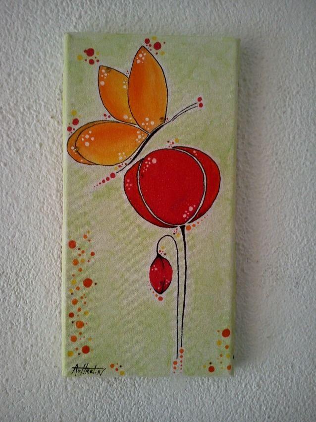TABLEAU COQUELICOT - PAPILLON  Peintures par bijoux-bambou - primaire d accrochage peinture