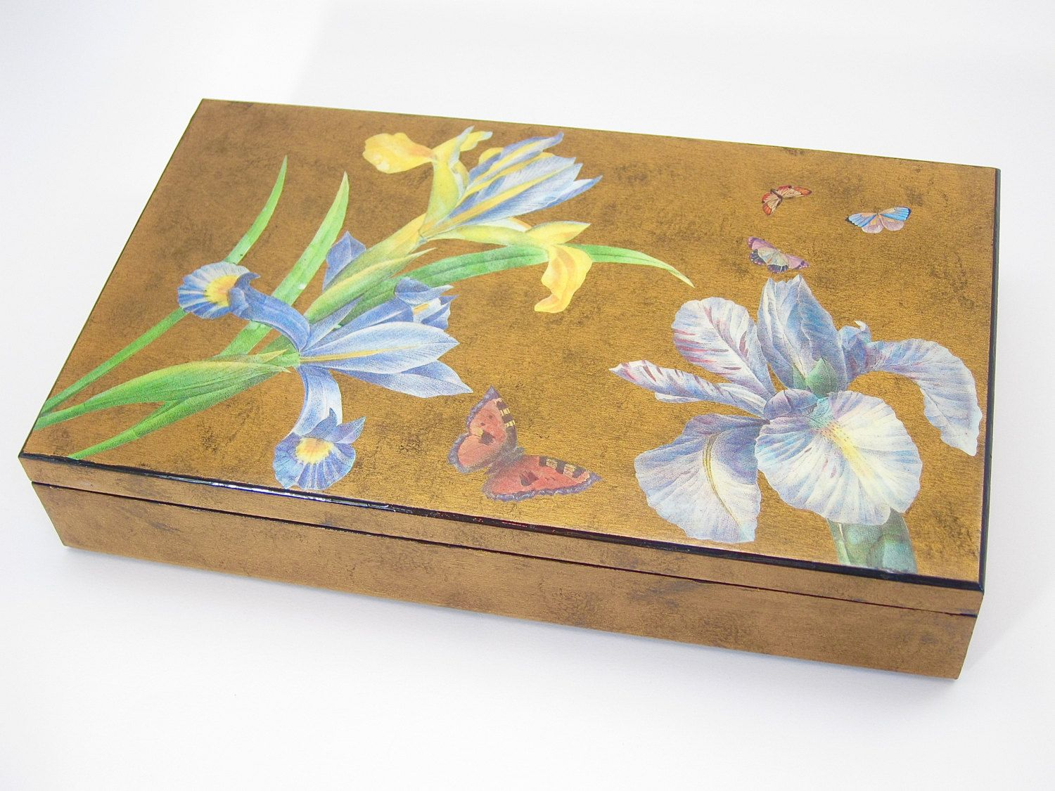 Where To Buy Decorative Boxes Japanese Style Decoupage Box Gold And Blue Decorative Box Home