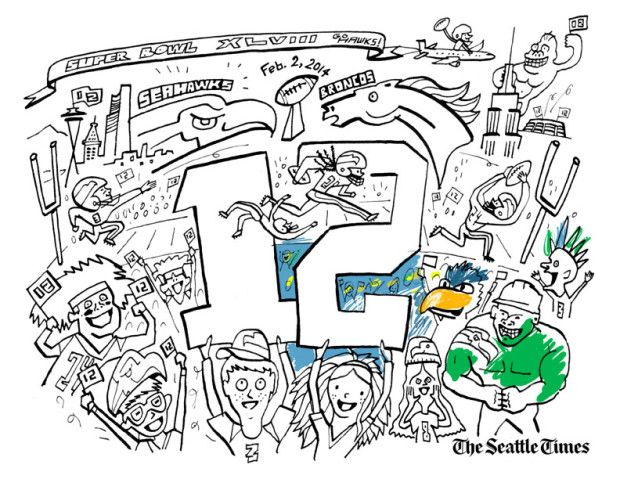 Superbowl Coloring Pages - Seahawks! | Celebrations | Pinterest ...