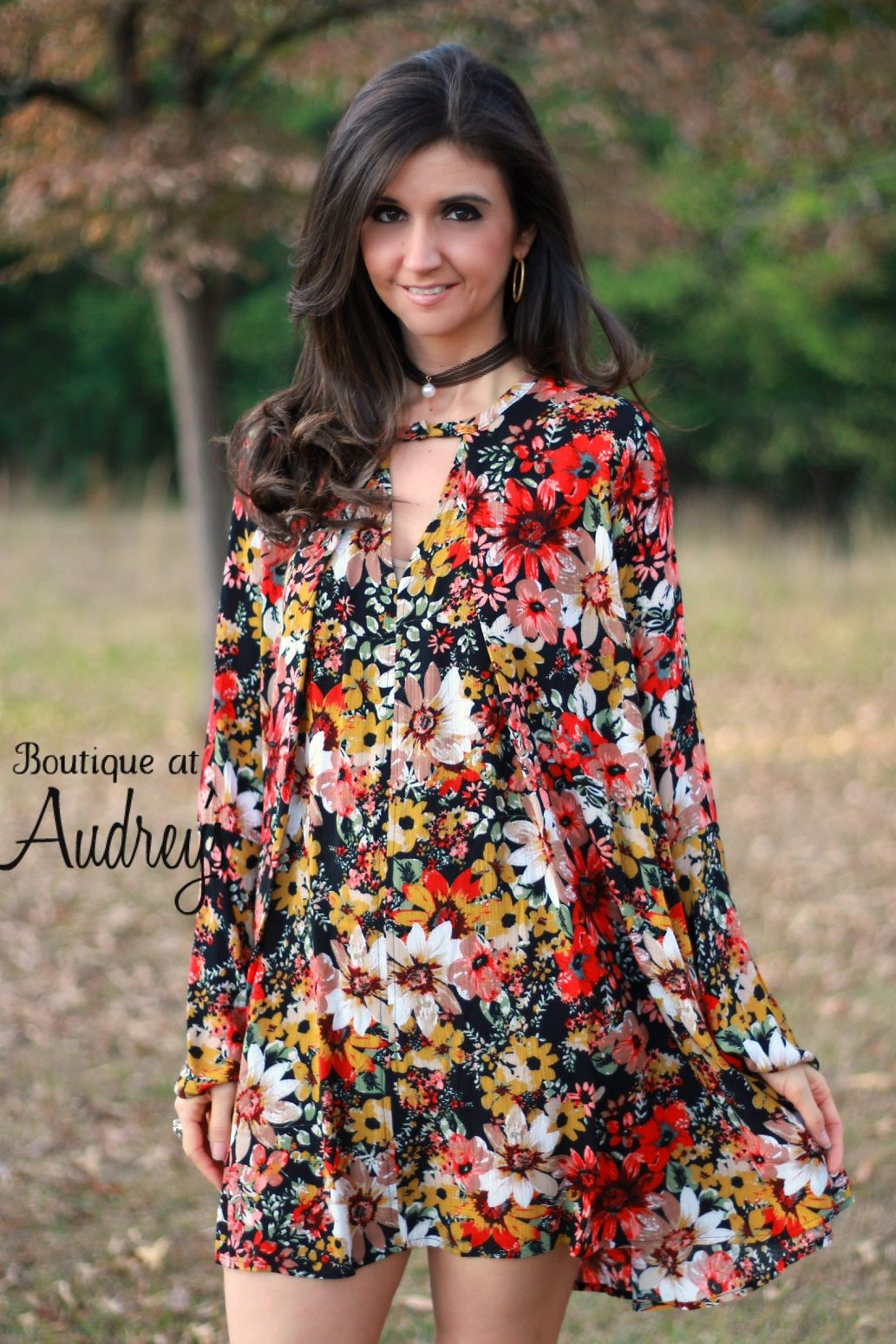 8eef28df930 Umgee Black Floral Print Dress with Keyhole Neckline
