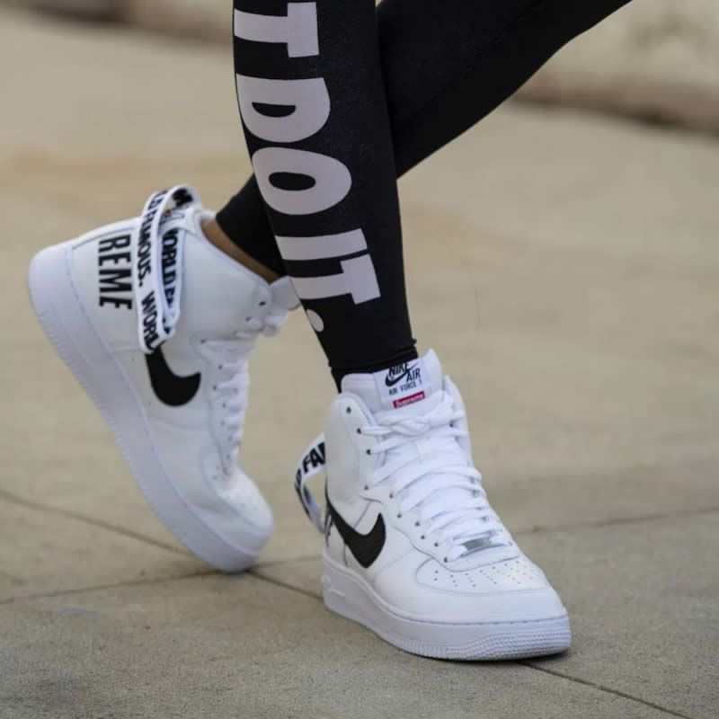Supremee X Nike Air Force 1 High Sp World Famous 94 White Black 698696 100 On Feet Www Anpkick Com Sneakers Nike Nike Running Leggings Are Not Pants