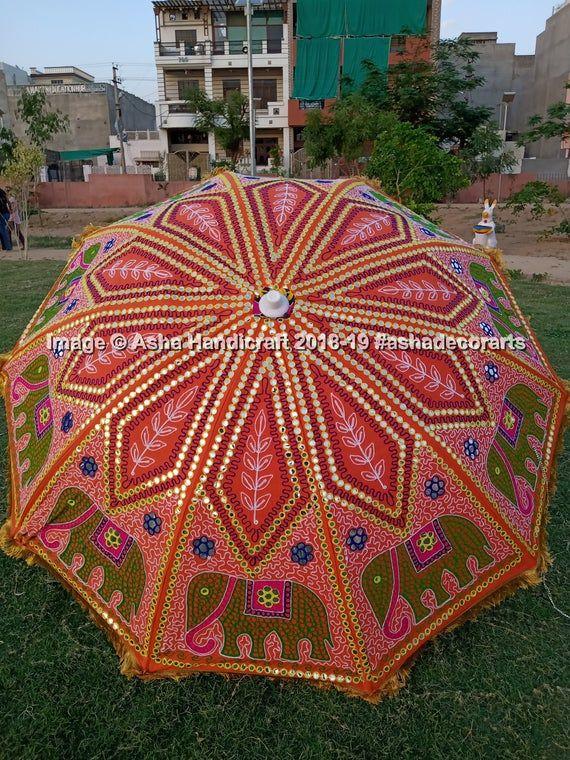 Lawn Garden Big Size Large Umbrella Fine Handmade Embroidery Garden Umbrella, Multi Colored Indian T #largeumbrella