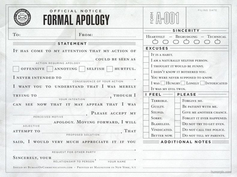 Formal apology Humor, Random and Funny things - apology letter to school