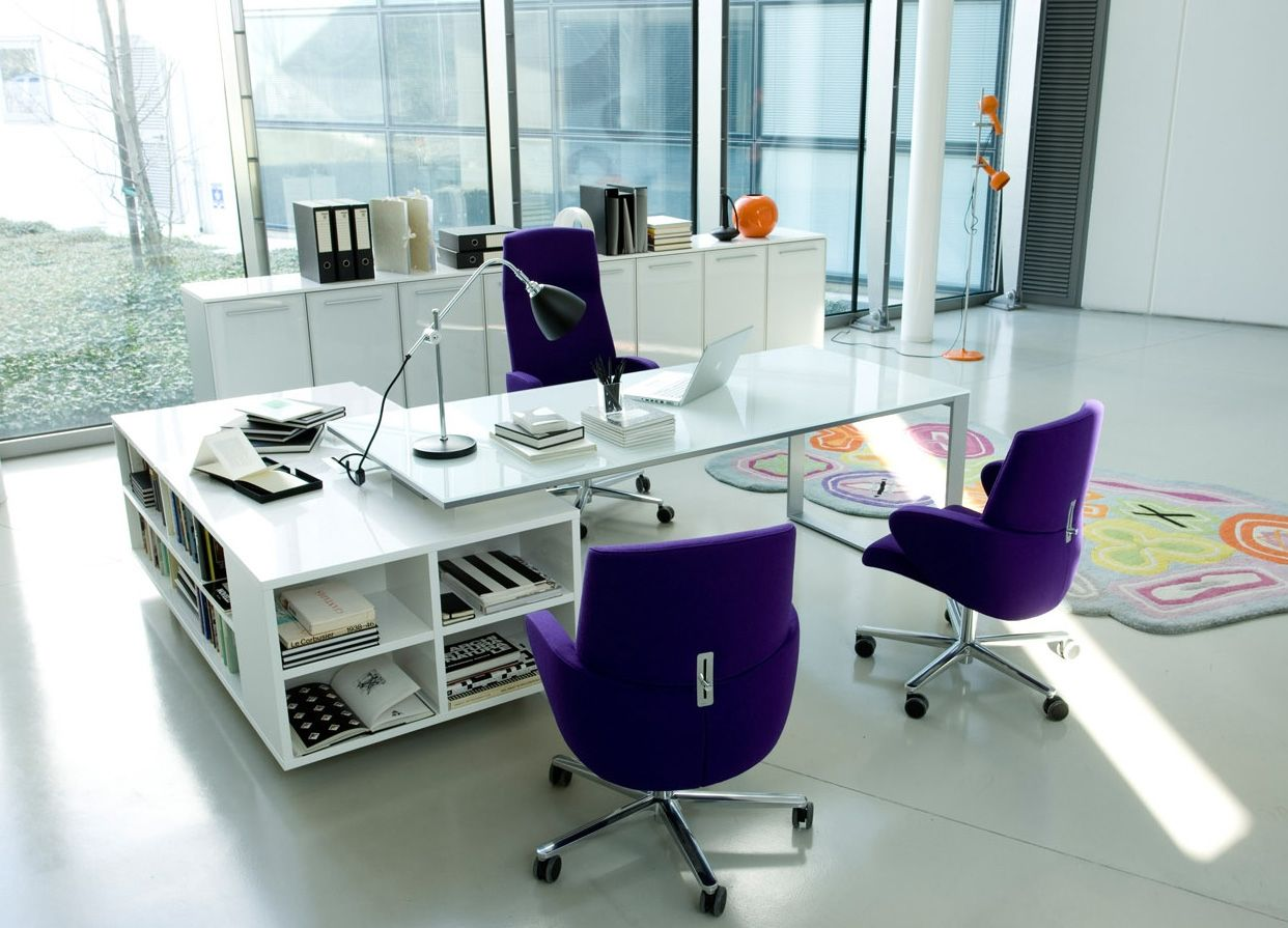 beautiful office design. Inspiration - Office Workspace, Beautiful Design Ideas: Amazing Manager Desk With Purple Chairs V