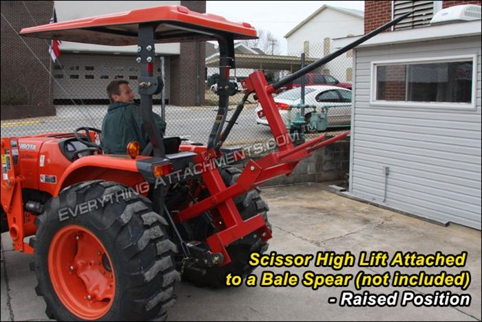 Tractor Bucket Hoist : Tractor point hitch scissor high lift hay f in