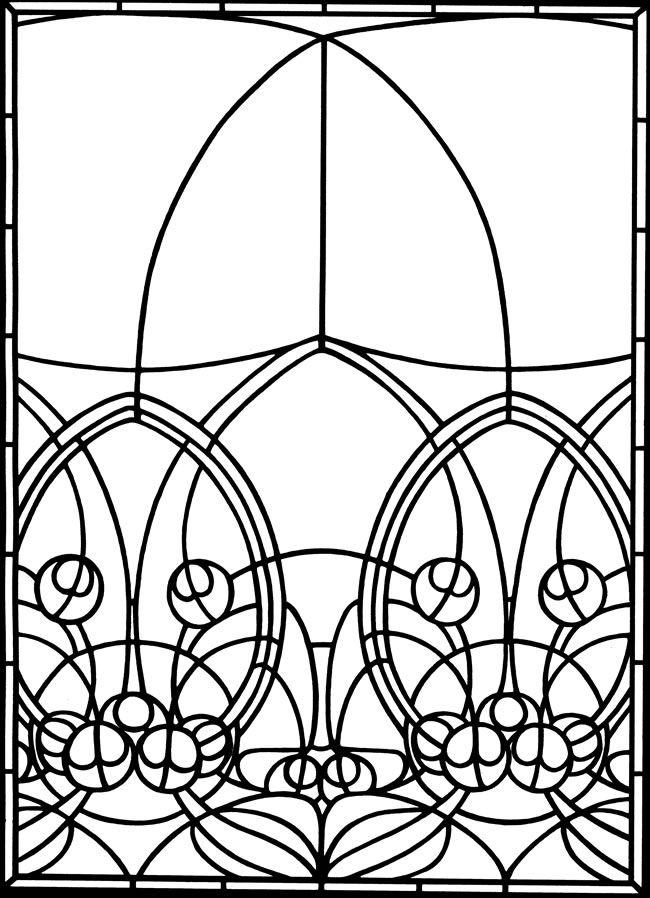 Art Nouveau Windows Stained Glass Coloring Book Wenn Du Mal Buch Jugendstil Ornamente Muster Malvorlagen