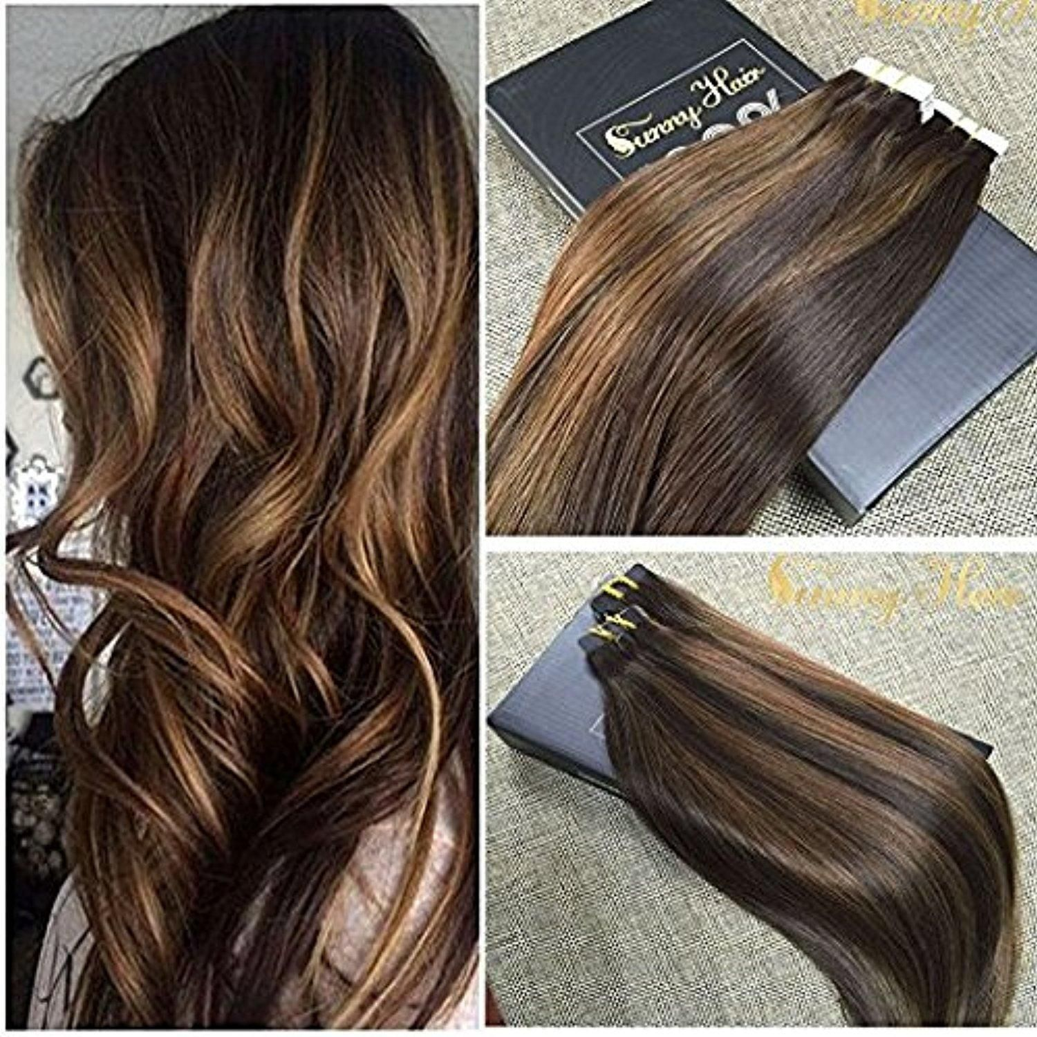 Sunny 18inch 20pcs 50g two tone color 2 fading to dark brown mixed sunny two tone color fading to dark brown mixed honey blonde colorful highlight balayage seamless tape in human hair extensions pmusecretfo Image collections