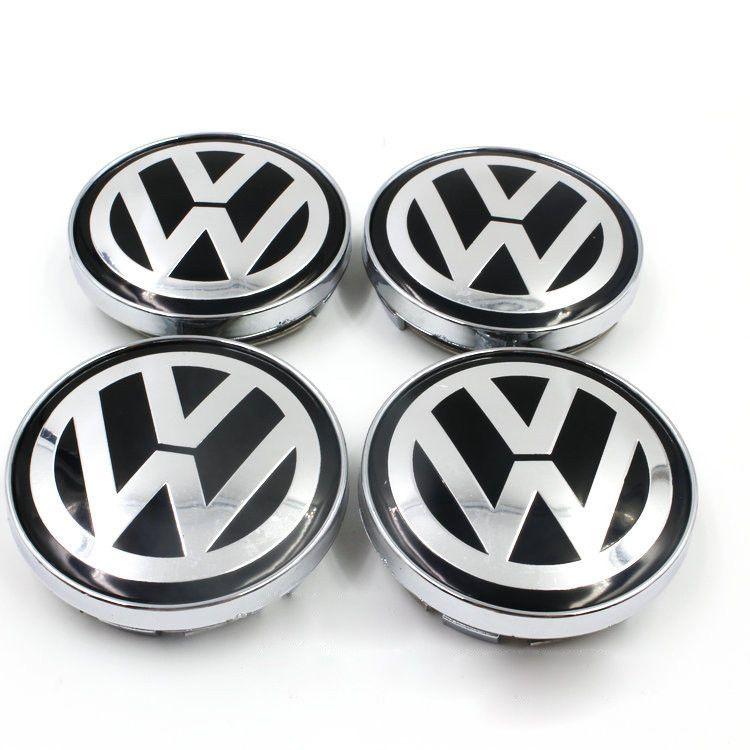 Set Blue Car Wheel Rim Center Hub Caps Decor Logo Ring Covers For VW Volkswagen