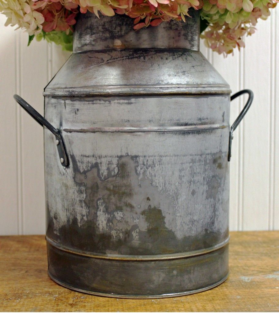 How To Give Galvanized Metal An Aged Look Galvanized Metal Galvanized Milk Can Decor